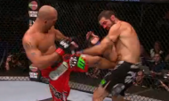 Robbie Lawler kicking Matt Brown (right) (photo via FOX Sports)
