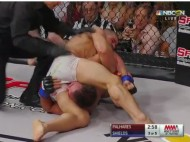 Palhares cranking a Kimura on Jake Shields (photo WSOF / NBC SN)