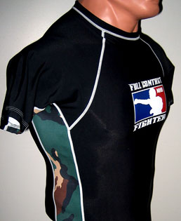 Black Short Sleeve Rashguard with Green Camouflage Side Panels