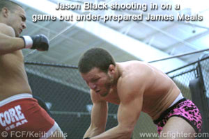 Jason Black shooting on James Meals