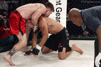 AFC 18: Mike Brown sinks in a guillotine on Dustin Nease - Photo by Keith Mills