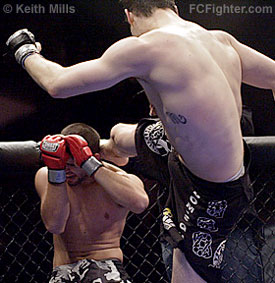 CFFC 3 (Jan 19, 2007): Tamdan McCory kicking Anthony D'Angelo - Photo by Keith Mills