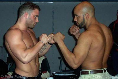 ECC 4 Weigh-ins: Roger Hollett (left) vs. Ray Penny - Photo by Peter Parsons
