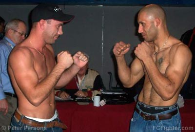 ECC 4 Weigh-ins: Jason MacKay (left) vs. Dan Grandmaison  - Photo by Peter Parsons