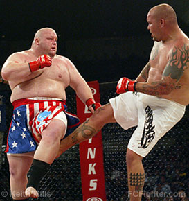 Wesley 'Cabbage' Correira (right) vs. Eric 'Butterbean' Esch - Photo by Keith Mills