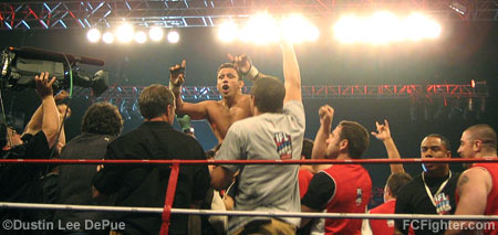 IFL: Renzo Gracie celebrates with his team after submitting Pat Miletich - Photo by Dustin Lee DePue