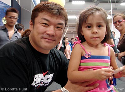 Hidehiko Yoshida and young fan