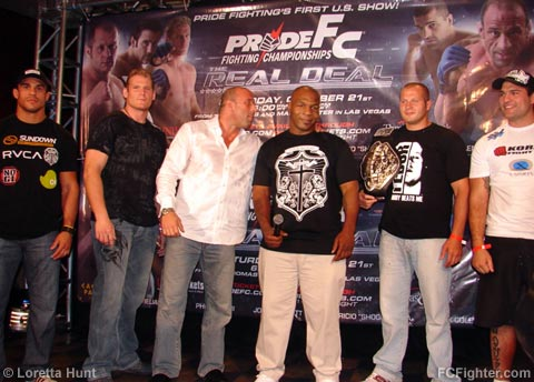 Pride U.S. Show press conference held Aug 19, 2006 - Pride fighters with Mike Tyson