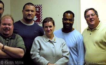 Rallo with the on-air team: (l-r) Mark Ondayko, John Rallo, John's mother, Kirk McEwan, and Lopez