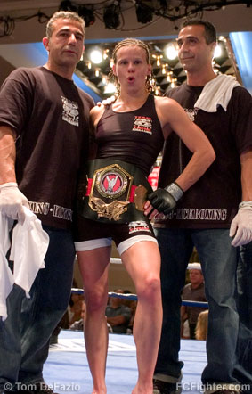 Ring of Combat 11: Laura D'Auguste with coaches Danny 'Tiger' (left) and Ron Schulmann - Photo by Tom DeFazio
