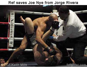 Ref saves Joe Nye from Jorge Rivera