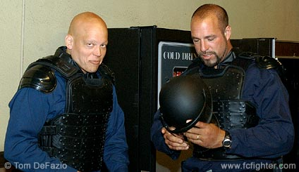 Kipp Kollar (left) & Dan Miragliotta get into gear for the impending riot.