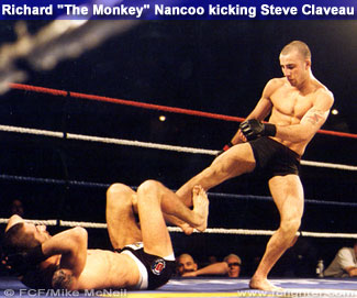 Nancoo kicking Claveau
