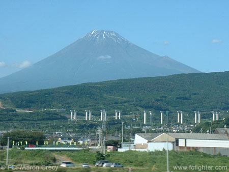 Mount Fuji as seen from the bullet train