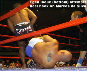 Egan Inoue attempts a heel hook on Marcos da Silva