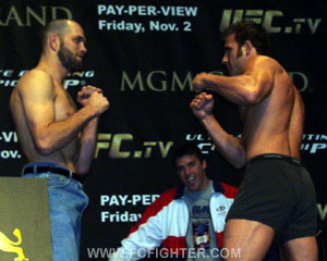 Matt Lindland and Phil Baroni at UFC 34 weigh-in