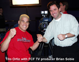 Tito Ortiz with Brian Sobie filming for the Full Contact Fighter TV show