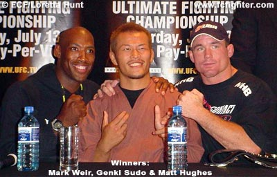 Winners Mark Weir, Genki Sudo and Matt Hughes