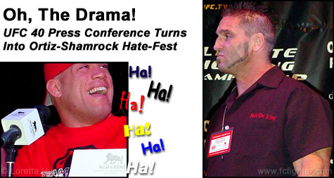 Tito Ortiz laughing at an angry Ken Shamrock