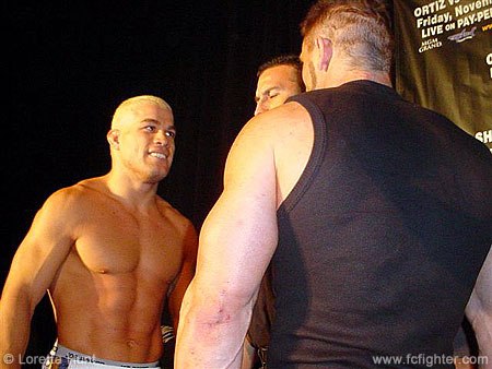 Tito Ortiz and Ken Shamrock staredown at weigh-in