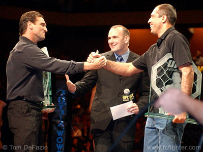 MMA legends Royce Gracie and Ken Shamrock are inducted into the UFC Hall of Fame by Dana White