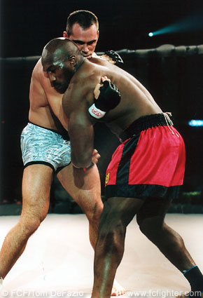 Rich Franklin (left) in a clinch with Marvin Eastman at WFA1